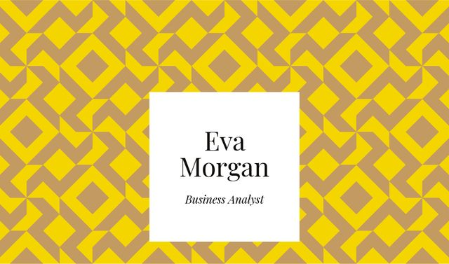 Business Analyst Services with Geometric Pattern in Yellow Business card Tasarım Şablonu