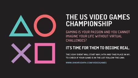 Plantilla de diseño de Video Games Championship announcement Title