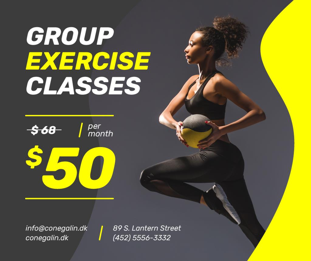 Gym Offer Woman Exercising with Ball Facebook – шаблон для дизайну