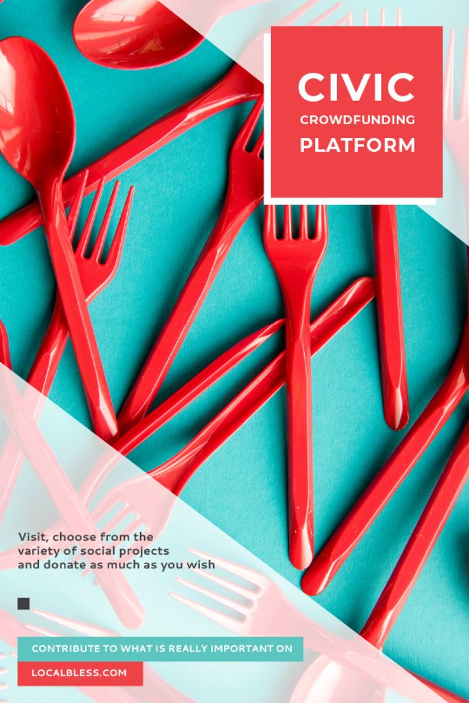 Crowdfunding Platform Red Plastic Tableware — Crea un design