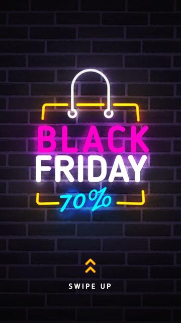 Plantilla de diseño de Black Friday sale neon sign Instagram Story