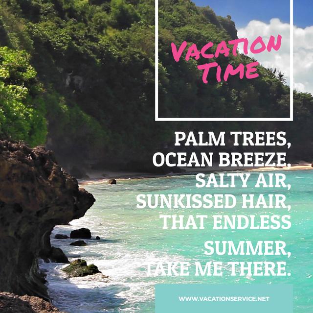 Turquoise sea water at Tropical Coast Animated Post Modelo de Design