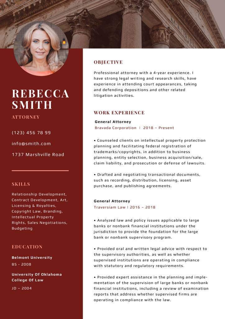 Professional Attorney skills and experience in red — Créer un visuel