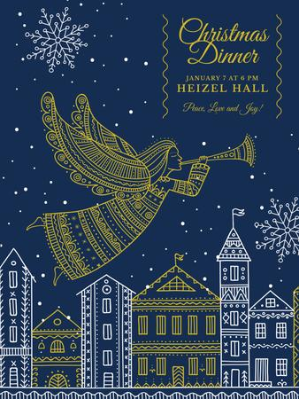 Template di design Christmas Dinner Invitation Angel Flying over City Poster US