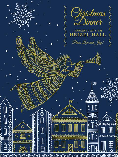 Christmas Dinner Invitation Angel Flying over City Poster US – шаблон для дизайна
