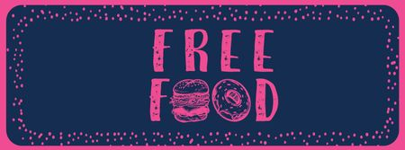 Modèle de visuel Free Food inscription with fast food icons - Facebook cover
