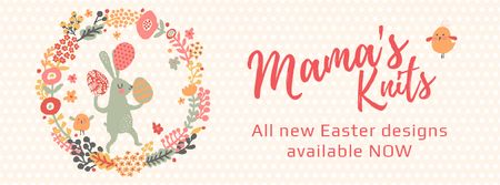 Easter Bunny with Colored Eggs in Flowers Frame  Facebook Video cover Tasarım Şablonu