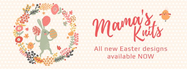 Designvorlage Easter Bunny with Colored Eggs in Flowers Frame  für Facebook Video cover
