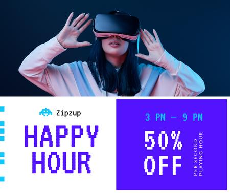 Template di design Gadgets Sale Girl in VR Glasses Facebook