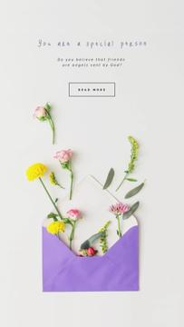 Greeting Flowers Filling Envelope | Vertical Video Template
