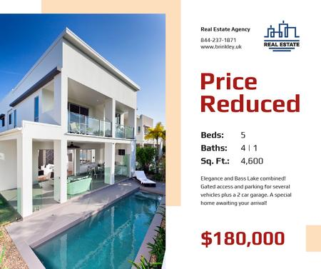 Real Estate Property Offer House with Pool Facebook Modelo de Design