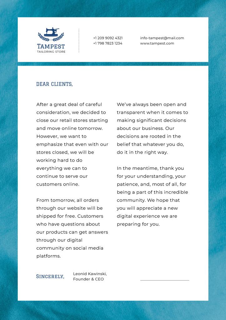 Tailoring Store official appeal — Crea un design