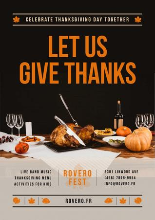 Ontwerpsjabloon van Poster van Thanksgiving Dinner Tradition with turkey On Table