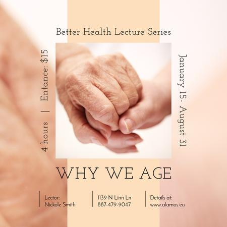 Healthcare Event Ad Holding Hand of Elder Patient Instagram Modelo de Design