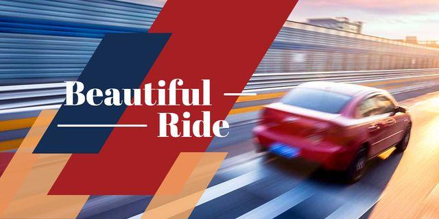 Plantilla de diseño de Red car driving fast on road Twitter