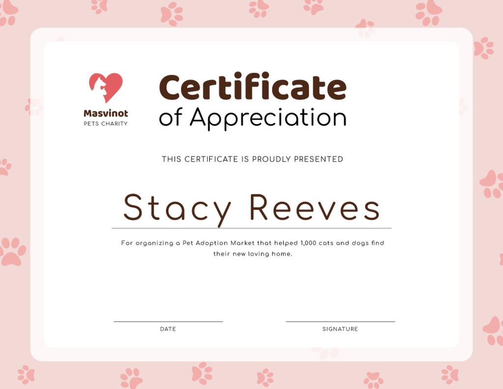 Plantilla de diseño de Pet Adoption Market activity Appreciation Certificate