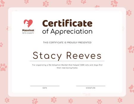 Ontwerpsjabloon van Certificate van Pet Adoption Market activity Appreciation