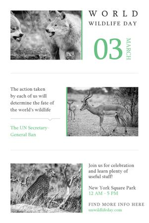 Ontwerpsjabloon van Pinterest van World Wildlife Day with Animals in Natural Habitat