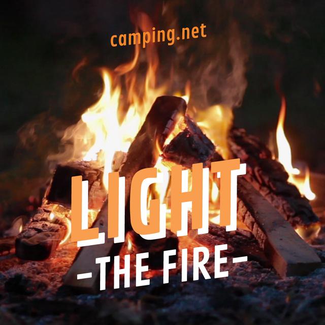Plantilla de diseño de Burning camp fire Animated Post