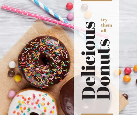 Sweet glazed Donuts with sprinkles Facebook Modelo de Design
