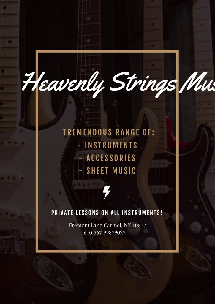 Music Store Offer with Electric Guitars — Crear un diseño