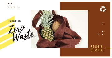 Zero Waste Concept Pineapple and Coconut in Textile Bag | Facebook Ad Template