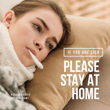 Plantilla de diseño de #StayAtHome Sick Woman measuring temperature Instagram