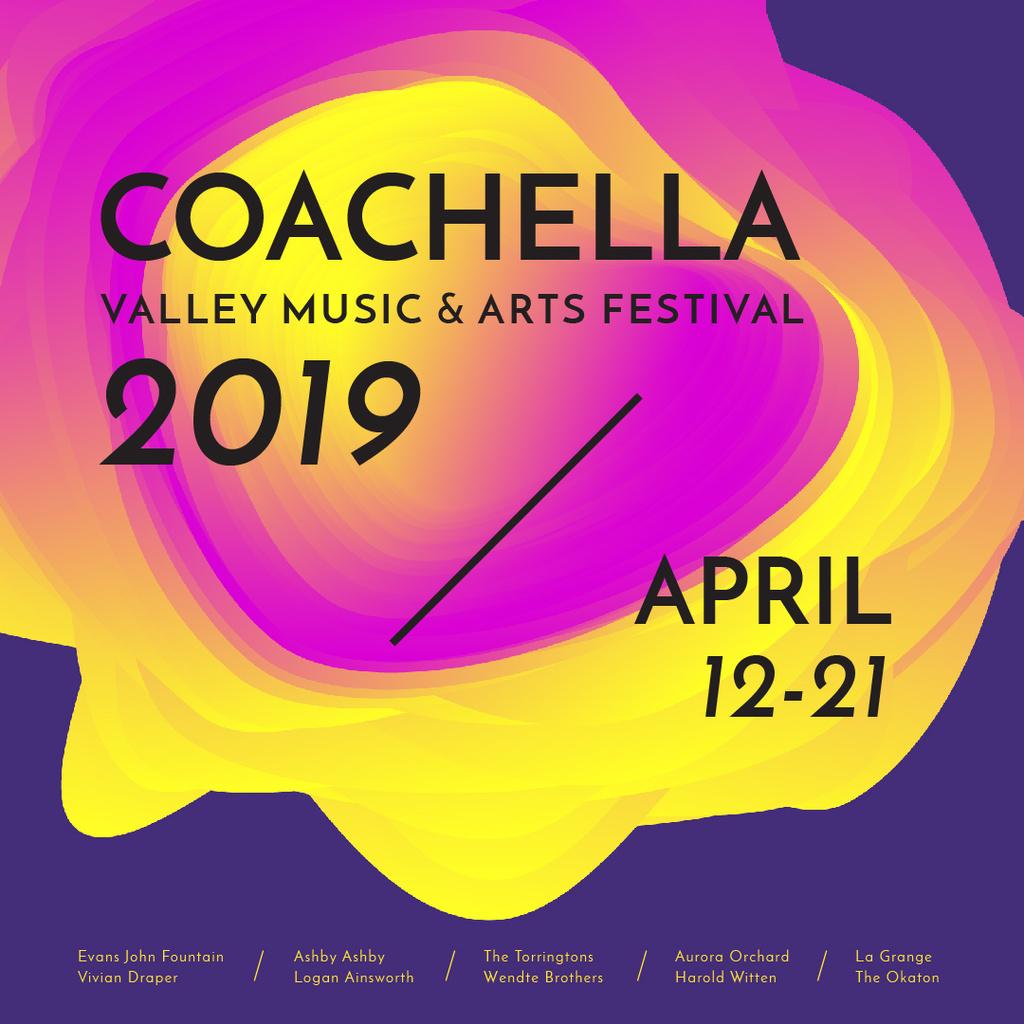 Modèle de visuel Coachella festival futuristic invitation - Instagram AD