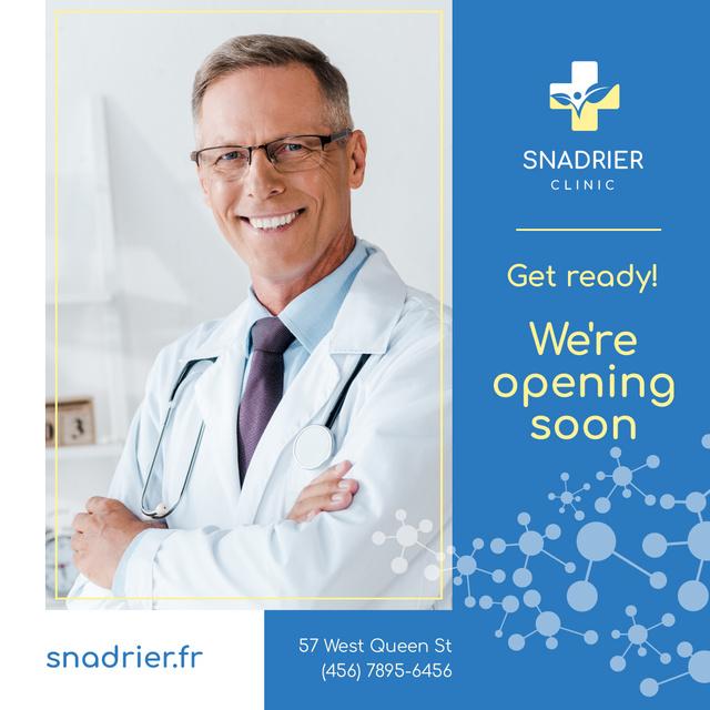Plantilla de diseño de Clinic Opening Announcement Smiling Doctor with Stethoscope Instagram AD