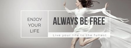 Modèle de visuel Inspiration Quote with Woman Dancer Jumping - Facebook cover