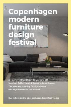 Design Event Announcement Sofa in Grey | Pinterest Template