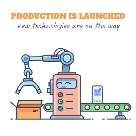 New technologies icons on production line Animated Post Modelo de Design