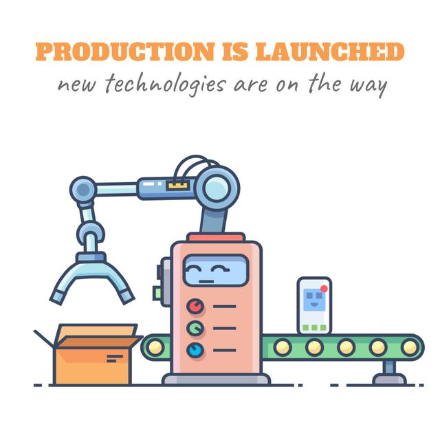New technologies icons on production line Animated Postデザインテンプレート