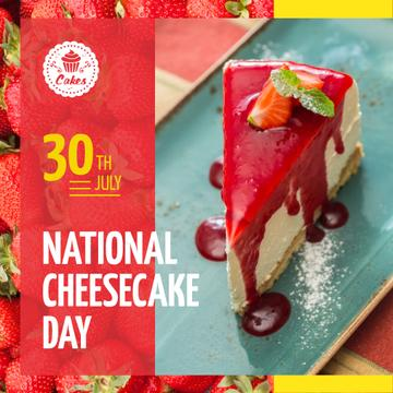 National Cheesecake Day Offer Cake with Strawberries | Instagram Post Template