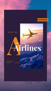 Airlines Ad Plane Flying Purple Sky | Vertical Video Template