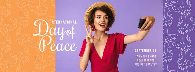 Plantilla de diseño de International Day of Peace Happy Woman Taking Selfie Facebook cover