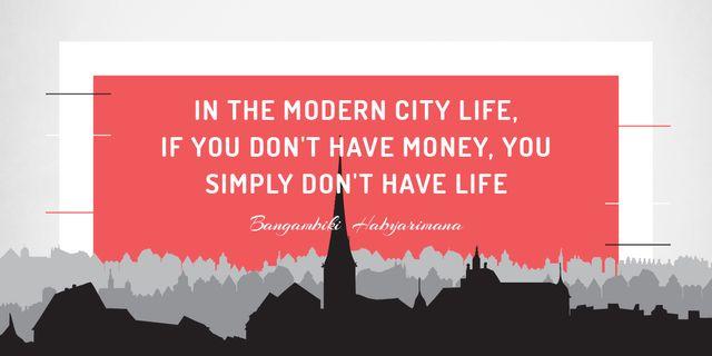 Designvorlage Citation about money in modern city life für Image