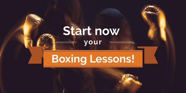 Boxing Lessons Ad with Boxer in Gloves Punching Twitter Design Template