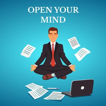 Businessman Meditating at Work in Blue | Square Video Template