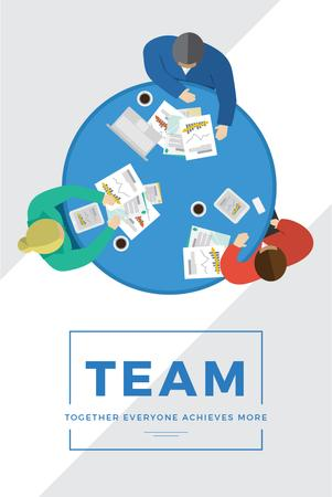 Template di design Business people working together at table Pinterest