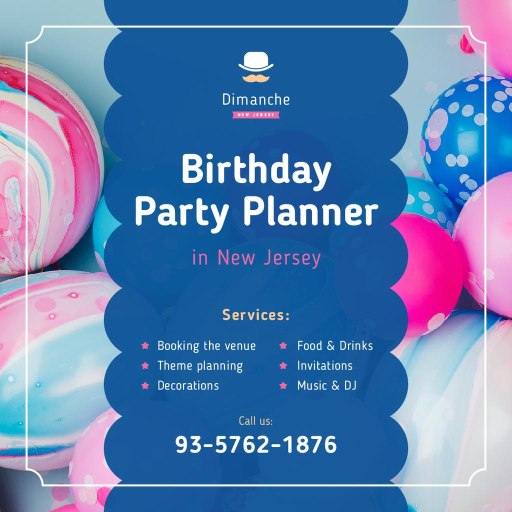 Birthday Party Organization Balloons in Blue and Pink   Instagram Post Template — Створити дизайн