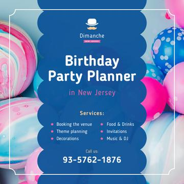 Birthday Party Organization Balloons in Blue and Pink | Instagram Post Template