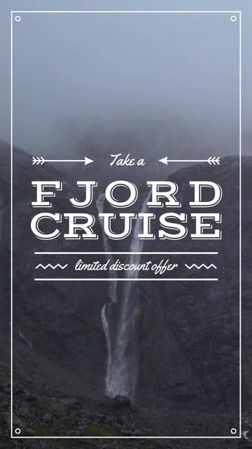 Designvorlage Norway Travel offer with Scenic Waterfall für Instagram Video Story
