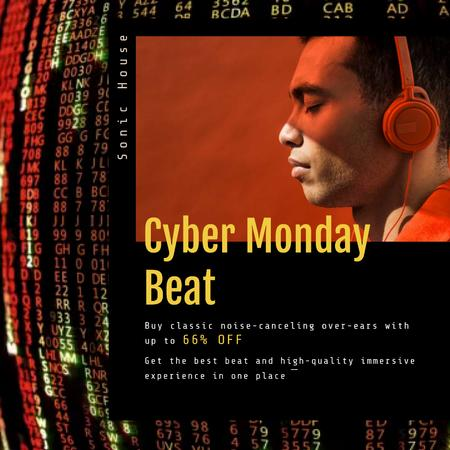 Plantilla de diseño de Cyber Monday Sale with Man in Headphones Animated Post