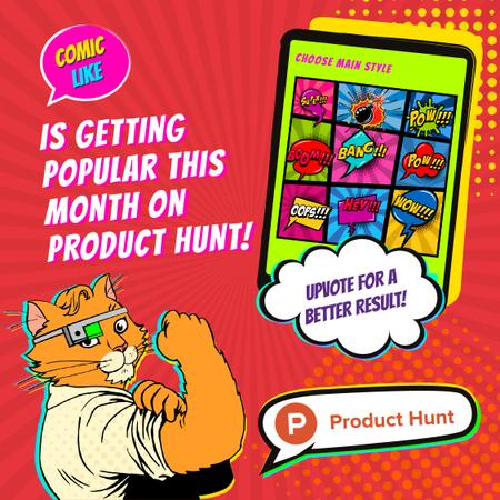 Plantilla de diseño de Product Hunt Campaign App with Interface on Screen Animated Post