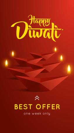 Happy Diwali Sale Glowing Paper Lamps Instagram Story Modelo de Design