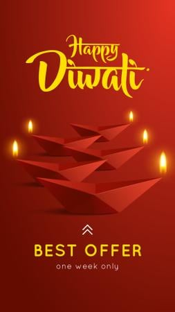 Designvorlage Happy Diwali Sale Glowing Paper Lamps für Instagram Story
