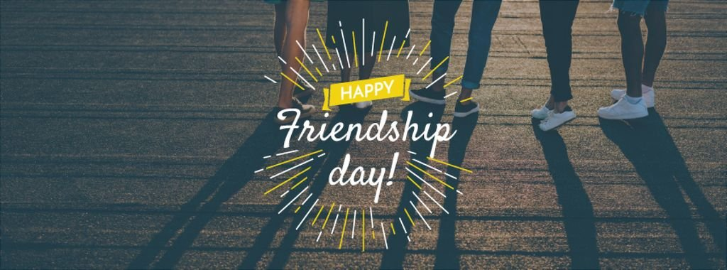 Friendship Day Greeting with Young People Together — ein Design erstellen