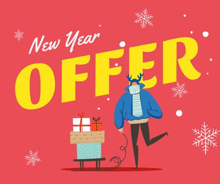 New Year Offer Man with Gifts Facebook Modelo de Design