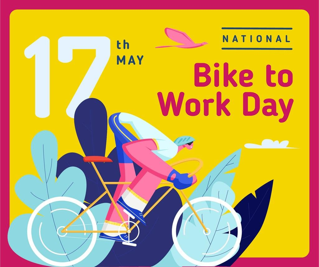 Man riding bicycle on Bike to Work Day — Create a Design